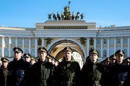 Rehearsal for the parade on Palace Square.