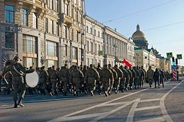 Rehearsal of the walking part of the Victory Day parade on Palace Square in honor of the 76th anniversary of Victory in the Great Patriotic War.
