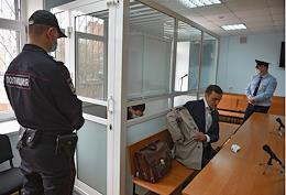 The meeting on the criminal case of the former FSB colonel Kirill Cherkalin, accused of large-scale fraud and receiving an especially large bribe, at the Moscow Garrison Military Court.