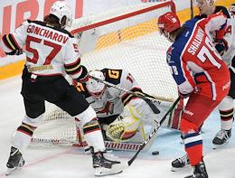 Continental Hockey League (KHL). Championship season 2020/21. The final. CSKA Moscow vs Avangard Omsk at the CSKA Arena stadium.