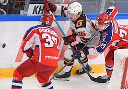 Continental Hockey League (KHL). Championship season 2020/21. The final. CSKA Moscow vs Avangard Omsk at the CSKA Arena stadium.