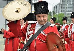 30th anniversary of the rehabilitation of the Cossacks in Krasnodar. Parade of the Kuban Cossack army.