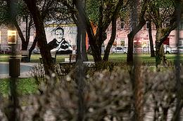 Graffiti with the image of Alexei Navalny and the phrase 'Hero of the New Time' on the transformer box in Pushkarsky Garden.