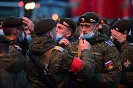 Night rehearsal of the military parade on Red Square in honor of the 76th anniversary of the Victory in the Great Patriotic War. Passage of military equipment.