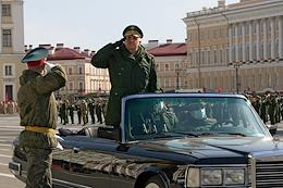 Rehearsal for the Victory Day Parade in St. Petersburg on Palace Square.