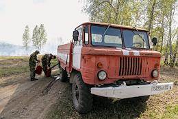 Fire extinguishing in the Iskitimsky district of the Novosibirsk region by the specialists of the forest fire formation of the Iskitim forestry.