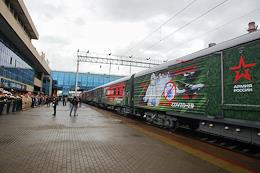 Meeting of the propaganda train of the Ministry of Defense of the Russian Federation 'We are the army of the country, we are the army of the people', at the Rostov-Glavny railway station.