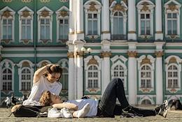 Genre photographs. Views of St. Petersburg.