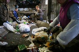 Genre photographs. Participants of the Greenpeace Russia expedition at the waste sorting station in Novosibirsk. The Zero Waste project team will visit enterprises that sort mixed and separately collected household waste. Experts will analyze what kind of garbage remains after sorting and is sent not for recycling, but in a landfill or in incinerators.