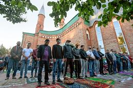 Celebration of Kurban-Bairam in the Cathedral Mosque of Novosibirsk.