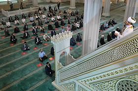 Feast of the sacrifice of Kurban-Bairam on the territory of the Moscow Cathedral Mosque.