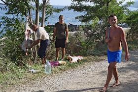 Crimean Tatars perform a sacrifice ceremony on Kurban Bayram on the Black Sea coast.