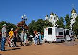 A mobile Covid-19 vaccination station on Victory Square in Kaliningrad.