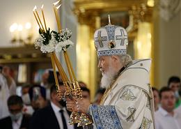Patriarch Kirill of Moscow and Russia at the consecration ceremony of the reconstructed Cathedral of the Kazan Icon of the Mother of God in Kazan.