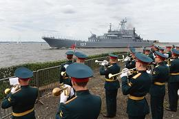 Naval parade on the Day of the Navy in Kronstadt