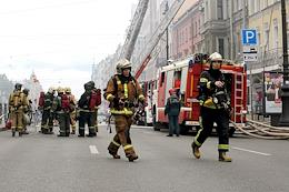 The aftermath of a fire in a residential building at 115 Ligovsky Prospekt