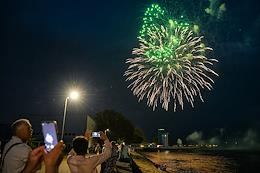 Fireworks on the Russian Navy Day and illumination of warships in Baltiysk.