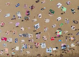 Genre photographs. Vacationers on the beaches of the Gulf of Finland. City beach in Sestroretsk.
