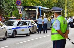 Road traffic accident (RTA) outside the Lomonosov Moscow State University (MSU). The bus with passengers entered the post outside the Moscow State University building.