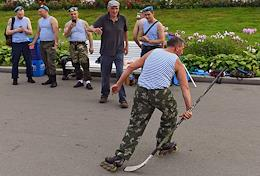Celebrating the Day of the Airborne Forces of Russia at the VDNKh. Former paratroopers during the celebration.