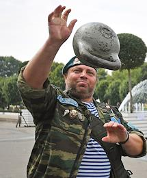 Celebrating the Day of the Airborne Forces in Gorky Park.