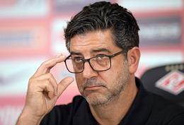 Press conference by head coach of football club Spartak (Moscow) Rui Vitoria before the first match of the third qualifying round of the Champions League with team leader Benfica (Portugal) at the press center at the Otkritie Arena stadium. Open training session of the Spartak team.