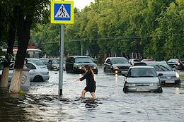 The flooded center of Kemerovo after a long rainstorm on August 4, 2021.