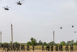 XII joint Russian-Indian exercise INDRA-2021. The opening ceremony of the exercises on the parade ground of the Prudboy military training ground.