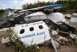 The wreckage of an Airbus A321 of Ural Airlines, which made an emergency landing after takeoff from Zhukovsky airport in 2019