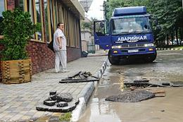 The aftermath of a downpour in Novorossiysk.