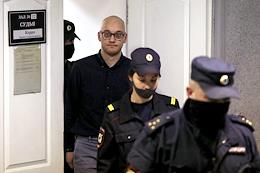Announcement of the verdict to Ilya Pershin, accused of using violence against a government official. The announcement took place in the Oktyabrsky District Court