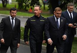 Farewell ceremony for the Minister of EMERCOM of Russia, Hero of the Russian Federation, General of the Army Yevgeny Zinichev in the building of the National Center for Emergency Situations of the EMERCOM of Russia.