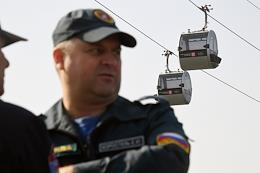 Press event of the Department for Civil Defense, Emergencies and Fire Safety of the city of Moscow Large-scale exercises on the cable car Luzhniki-Vorobyovy Gory on the Luzhnetskaya embankment.