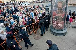 Religious procession on the 800th anniversary of Alexander Nevsky in St. Petersburg.