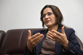 Chairman of the Executive Committee of the Council for Democratic Syria (SDS) Ilham Ahmed during an interview.