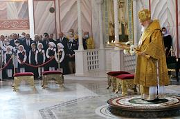 The solemn ceremony of opening the cathedral in honor of the holy right-believing prince Alexander Nevsky in the center of Volgograd.
