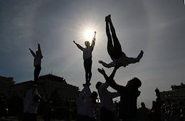 Open training for sports school students on Freedom Square in Kazan.