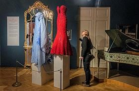 Press screening of the mini-exhibition Anna Netrebko's Gift to the Theater Museum in the Sheremetev Palace of the Museum of Music in St. Petersburg.