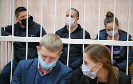 Announcement of the verdict of the Zavodskoy District Court of the city of Kemerovo in the first case of a fire in the Zimnyaya Vishnya shopping and entertainment center. The meeting is taking place in the building of the Leninsky District Court.