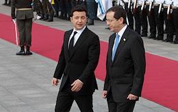 Meeting of President of Ukraine Volodymyr Zelenskyy and President of Israel Isaac Herzog.