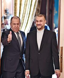 Talks between Russian Foreign Minister Sergei Lavrov and Iranian Foreign Minister Hossein Amir at the Russian Foreign Ministry's Reception House.