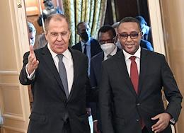 Talks between Minister of Foreign Affairs of the Russian Federation Sergei Lavrov and Minister of Foreign Affairs of Rwanda Vincent Biruta at the Reception House of the Russian Foreign Ministry.