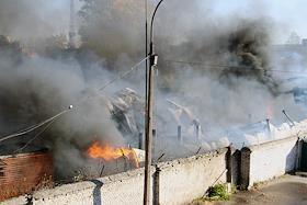 Fire in the industrial zone on Partizanskaya Street in St. Petersburg.