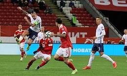 Qualifying tournament for the FIFA World Cup. Group stage. 7th round. A match between the national teams of Russia and Slovakia at the Kazan-Arena stadium.