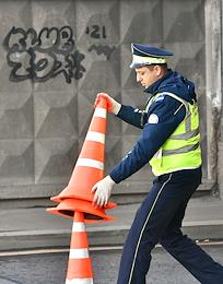 Traffic police officers at the service.