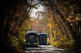 Genre photographs. Tram in Sokolniki.