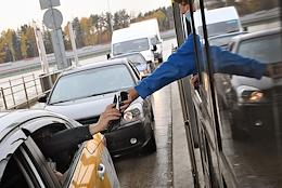 Genre photographs. Operation of the toll collection point on the M11 'Neva' toll road.
