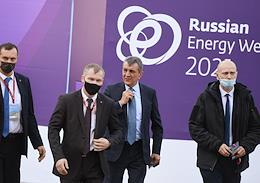 International Forum Russian Energy Week (REW) 2021 at the Manezh Central Exhibition Hall. The first day.